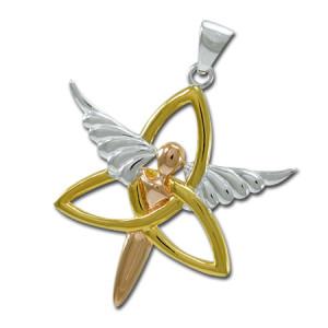 Vedhæng med Engel og Triquetra - Treenighedssymbolet -u/kæde