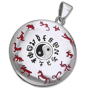 Vedhæng med Yin Yang og den Kinesiske dyrekreds - u/kæde