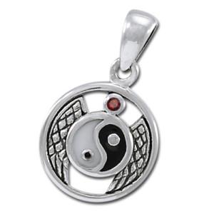 Yin Yang vedhæng med Rød Granat - u/kæde