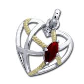 Vedhæng Hjerte med Rød Granat - u/kæde