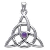 Vedhæng med Triquetra - Treenighedssymbolet og Ametyst - u/kæde