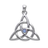 Vedhæng med Triquetra - Treenighedssymbolet og Månesten - u/kæde