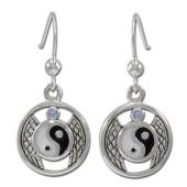 Øreringe Yin Yang med Månesten - pr par