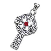 Keltisk kors med Rød Granat - u/kæde