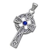 Keltisk Kors med Safir - u/kæde