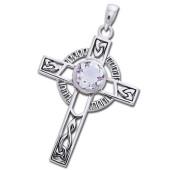 Keltisk kors med Bjergkrystal - u/kæde
