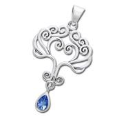 Vedhæng Livets Træ med Safir - u/kæde