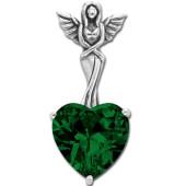Vedhæng Engel med hjerte - Grøn - u/kæde