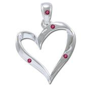 Vedhæng Hjerte med Rubin - u/kæde