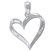 Vedhæng Hjerte med klar zirkonia - u/kæde