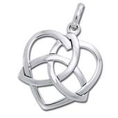 Vedhæng Hjerte med Triquetra - Treenighedssymbolet - u/kæde