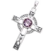 Keltisk kors med Ametyst -  u/kæde