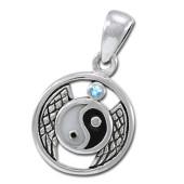 Yin Yang vedhæng med Blå Topas - u/kæde