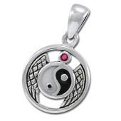 Yin Yang vedhæng med Rubin - u/kæde