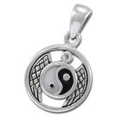 Yin Yang vedhæng med Bjergkrystal - u/kæde