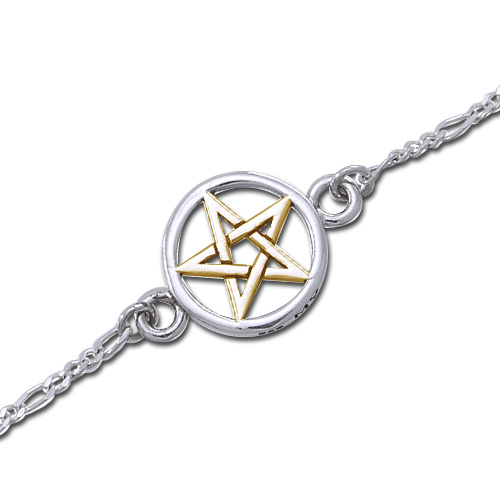 Ankelkæde med forgyldt Pentagram - 20,5cm