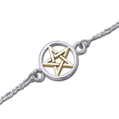 Image of   Ankelkæde med forgyldt Pentagram - 17cm