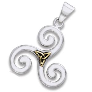 Vedhæng Triskele og Triquetra - Treenighedssymbolet - u/kæde