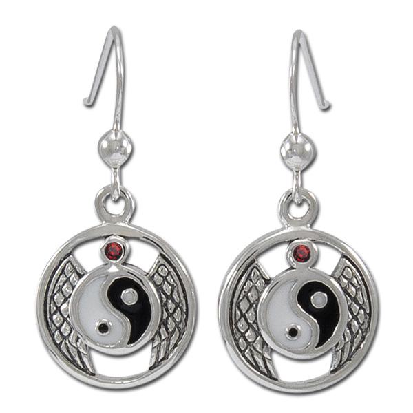 Øreringe Yin Yang med Rød Granat – pr par – pris 369.00