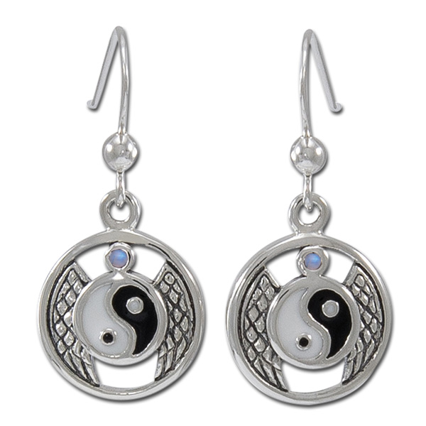 Øreringe Yin Yang med Månesten – pr par – pris 369.00