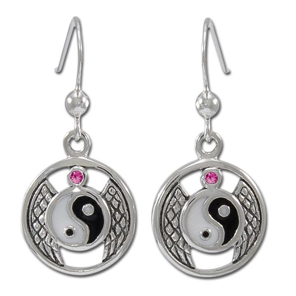 Øreringe Yin Yang med Rubin – pr par – pris 369.00