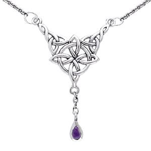 Halskæde med Keltisk 4 punkts knude og Ametyst – pris 399.00