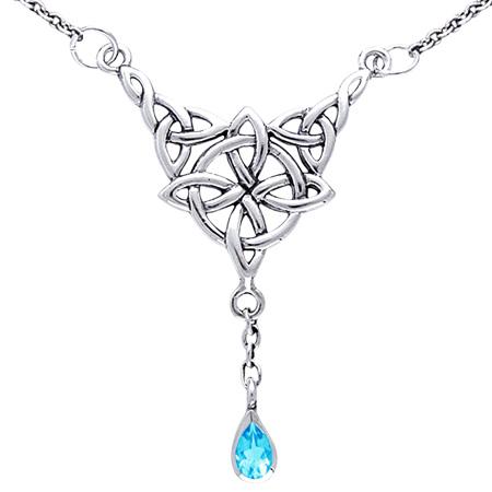 Halskæde med Keltisk 4 punkts knude og Blå Topas