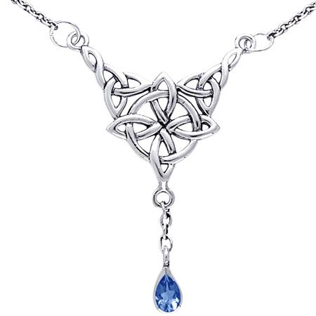 Image of   Halskæde med Keltisk 4 punkts knude og Safir