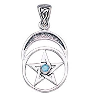 Vedhæng med Pentagram og Blå Topas - u/kæde