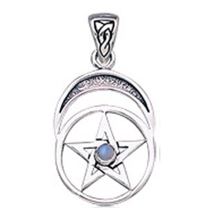 Vedhæng med Pentagram og Månesten - u/kæde