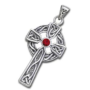 Keltisk kors med Rød Granat – u/kæde – pris 279.00