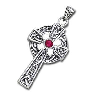 Keltisk kors med Rubin - u/kæde
