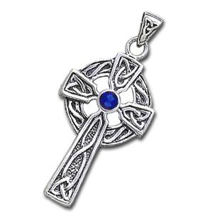 Image of   Keltisk Kors med Safir - u/kæde