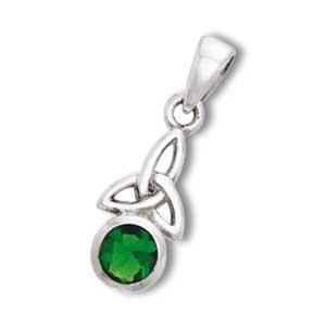 Vedhæng med Triquetra – Treenighedssymbolet og Smaragd – u/kæde – pris 169.00