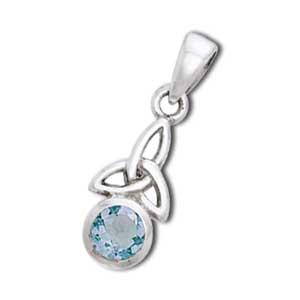 Vedhæng med Triquetra – Treenighedssymbolet og Aquamarin – u/kæde – pris 169.00