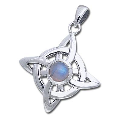 Keltisk Livshjul med Månesten - u/kæde