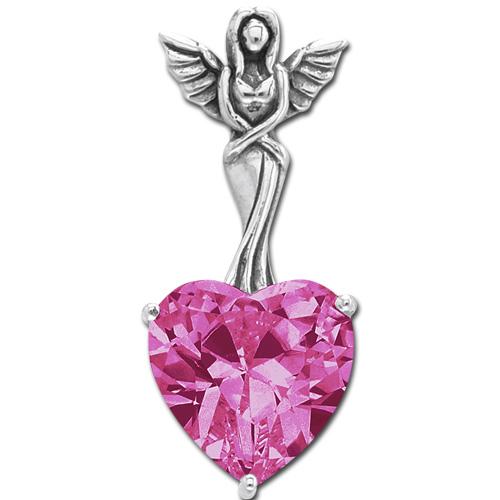 Vedhæng Engel med hjerte - Pink - u/kæde