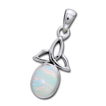Vedhæng med Triquetra - Treenighedssymbolet og Opal - u/kæde