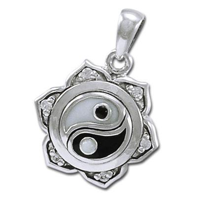 Yin Yang Lotus vedhæng - u/kæde