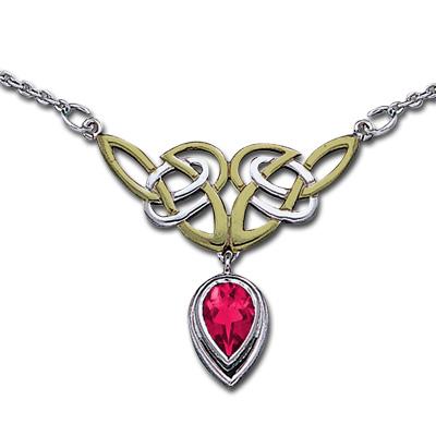 Halskæde med Keltiske knuder og Rubin